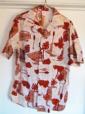 Vintage Jantzen Hawaiian Shirt Made USA Large Cotton Brown Outrigger Palm Oars