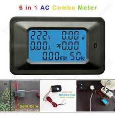 AC 6in1 Multimeter Volt 250V Amp 30A Power Watt Energy Split Core Current Sensor