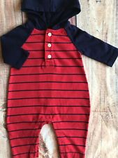 Gap One Piece Size 0 3 Months Baby Boys Outfit Hoodie Blue Red Striped Gapkids