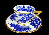 "ADAMS PORCELAIN #4639 JEDDO PATTERN BLUE URN 2 1/4"" DEMITASSE CUP & SAUCER 1879"