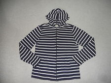 Womens Sweater-L.L.BEAN-navy/white striped cotton hooded zipper cardigan ls-M