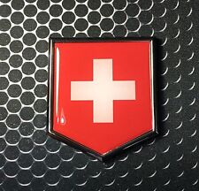 Switzerland Flag Domed CHROME Emblem Proud Swiss Flag Car 3D Sticker 2x 2.25""