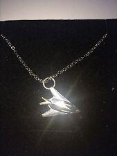 "Lockheed F-117 Nighthawk C62 Stealth Emblem Silver Platinum Plated Necklace 18"""