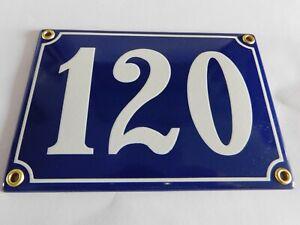 Antique French Blue  Genuine Enamel Porcelain House Door Number Sign / Plate 120