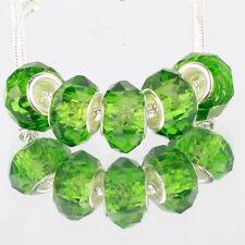 Crystal green 5pcs MURANO glass bead LAMPWORK fit European Charm Bracelet