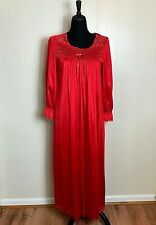 New listing Vintage Vanity Fair Long Red Nightgown, Beautiful Lace Detail, Excellent