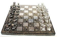 """Indian Handcrafted 12"""" x 12″ Collectible Premium Brass Made Chess Board Game Set"""