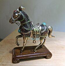 ANTIQUE/VINTAGE STERLING HORSE W/ENAMEL CLOISONNE