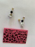 Betsey Johnson pearl alloy astronaut stars Drop/Dangle earrings-BJ88275