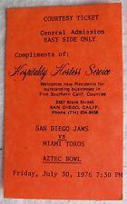 san diego backen v miami toros aztec bowl 1976 ticket nordamerikanischen fussball-bundesliga