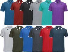Mens Short Sleeve Polo Shirt Plain Pique Single Tipping Collar with Pocket M-6XL