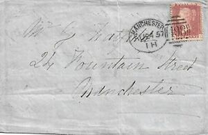 GB 1857 1d Red Stars Wrapper with Manchester 498 Spoon Duplex - Local Use