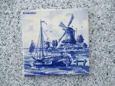 1 CARRELAGE  FAÏENCE DE DELFT décor moulins bateaux 15 cm de côté
