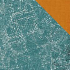 Kaisercraft 12x12 Scrapbooking paper, Scrap Yard Collection, Blue Print