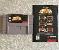 SNES Midway Arcade Greatest Hits Nintendo Cartridge w/ Manual Cleaned & TESTED