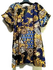 Blue and gold  Paisley Dress in big tiered sleeves