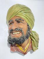 Vtg BOSSON Punjabi 1964 Chalkware Wall Hanging Middle Eatern Man Bust Head NICE