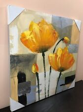 Wall Art Painting Canvas FRAMED Home Decor Orange Flower Abstract (24X24)