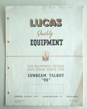 """LUCAS SUNBEAM TALBOT """"90"""" Equipment Spare Parts 1949 #471"""
