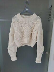 Oscar de la renta off white sweater top knitwear sz S