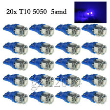 20 X Car T10 Ultra Blue LED 5050 5smd Wedge Light Bulb W5W 194 168 2825 158 192