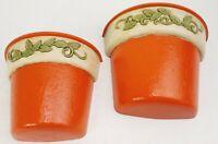 Vintage Home Interiors Ivy Glen Wall Pocket Planters Set of 2 Green Ivory Orange
