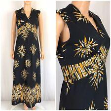 Vintage 70s 80s Maxi Dress Empire Waist Knit Atomic Print Disco Hostess Party M