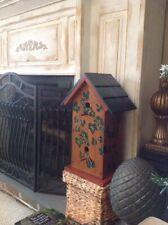 "Lrg. Bird House Handmade Solid Wood Hand Painted 23"" Tall"