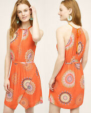 ANTHROPOLOGIE NWT Livia Halter Dress by Floreat Orange Medallion Print Sz 6 $138