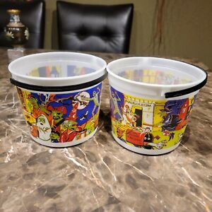 Vintage Lot 2 Jack In The Box Halloween Bucket use for Candy Bowl Decor Toy 1998