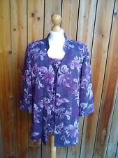 Women's Jacques Vert Two Piece Purple Floral Top & Jacket 100% Virgin Wool 16