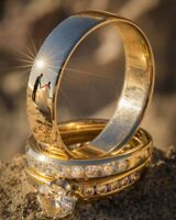 14k Yellow Gold Over Engagement Wedding 1.25CT Round Diamond Trio Ring Set