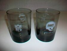 Lot 2 Vintage NFL NEW YORK GIANTS Smoked Glass Drinking Glasses textured bottom