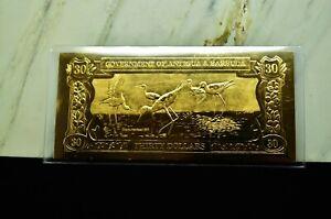 23K GOLD BANK NOTE ANTIGUA AND BARBUDA $30 BLACK-NECKED STILT BIRD