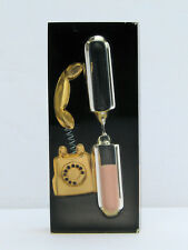 Vintage Goldtone Retro 50's 3 Minute Telephone Timer Hour Glass Clear Lucite
