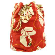 CHANEL CC Logos Chain Drawstring Shoulder Bag Red Canvas 1344841 Auth BA01696h