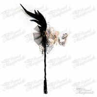 Handheld Stick Mask, Women Gold Swan Metal Venetian Masquerade Mask