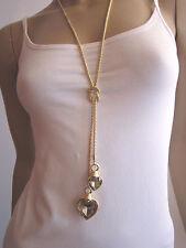 STRASS Modekette Damen Hals Kette lang Modeschmuck 2x Herz Gold Grau h986