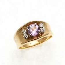Vintage 14k yellow gold Amethyst & Diamond Flower Ring Wide Band Estate