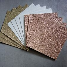 FANTASY GLITTER CARD CHRISTMAS ROSE GOLD WHITE GOLD 210 GSM 6x6 12 SHEETS - NEW
