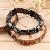 New  Black Magnetic Hematite Healing Mens Womens Loose Beads Bracelet