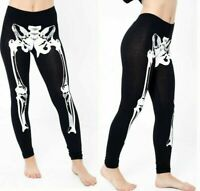 Skeleton Print Leggings Halloween Bone Full Length Trouser Legging Womens Ladies