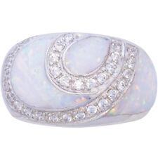 Anello Con Opale Bianco schiacciato resina 925 Argento Marchiato da ARI D Norman