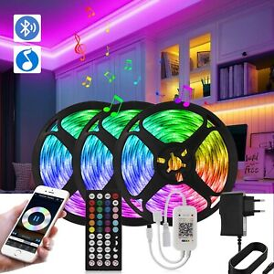Waterproof LED 5050 Strip Lights 20M 10M Sync Music Bluetooth Remote for Room EU