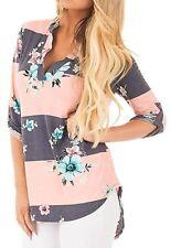 *NEW Women's 3/4 Sleeve Floral Striped Lightweight Top Shirt Blouse Size XL