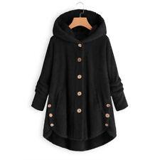 Womens Button Teddy Bear Fleece Fur Fluffy Hooded Coat Jacket Outwear Plus Size