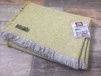 TWEEDMILL TEXTILES RECYCLED WOOL MIX GREEN GREY PICNIC BLANKET THROW RUG