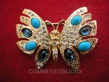 """Broche """"Papillon en Découpe"""" Bleu Turquoise Nuit Jour - Bijoux Vintage Sphinx"""