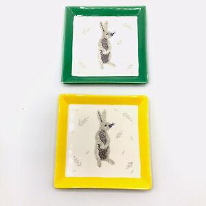 Grace Fine Porcelain Bunny Rabbit Easter Appetizer Tidbit Plates Set of Two
