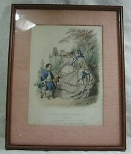 Vintage Victorian 1800s Godey Type Framed Fashion Print Les Journal French Print